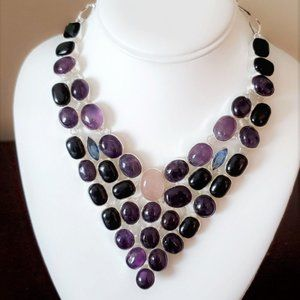 Jewelry - Amethyst and Rose Quartz Silver Gem Necklace NWOT